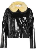 Shrimps Faux Leather Jacket with Faux Fur Collar