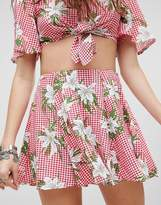 Kiss The Sky Mini Skirt In Floral Gingham Two-Piece