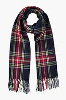 Boohoo Jessica Blue Brushed Check Scarf