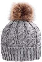 Simplicity Men / Women's Winter Hand Knit Faux Fur Pompoms Beanie Hat Grey