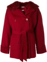P.A.R.O.S.H. fur collar belted coat