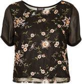 Topshop Net Organza Embroidery Tee
