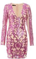 Quiz Pink and Nude Sequin Long Sleeve Dress