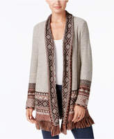 Style&Co. Style & Co Shawl-Collar Fringed Cardigan, Created for Macy's