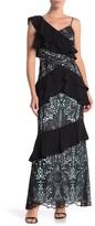 ML Monique Lhuillier Crepe & Lace Mixed Gown