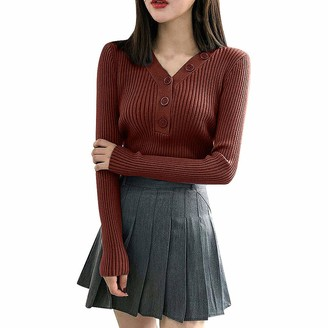 HOOUDO Women Knitted Jumper Autumn Winter Warm Casual V Neck with Button Long Sleeve Slim Fit Sweater PulloverTopsKnitwear Red