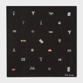 Paul Smith Men's Black 'Cufflink Charm' Print Silk Pocket Square