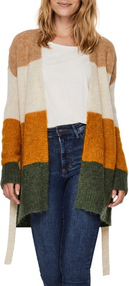 Vero Moda Colorblock Belted Long Cardigan