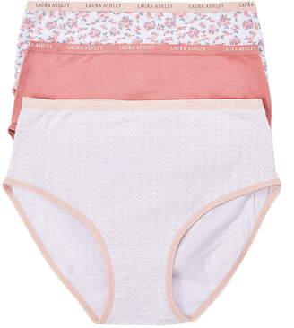 Laura Ashley Women's Underwear Gossamer - Pink Rose, Frosted Rose & Pink Brief Set - Women