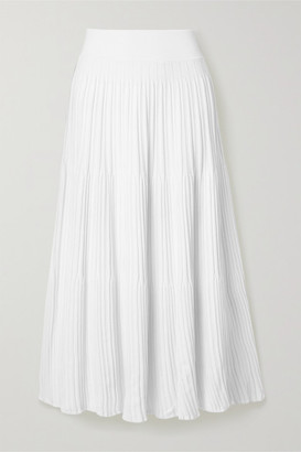 CASASOLA + Net Sustain Ribbed-knit Midi Skirt - Off-white