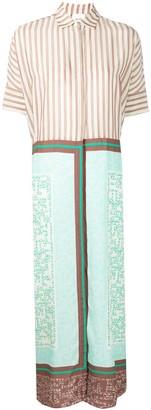 Alysi Long Multi-Print Shirt Dress