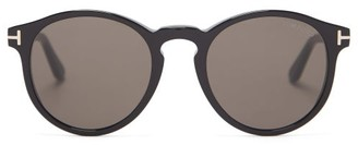 Tom Ford T-hinge Round Acetate Sunglasses - Black
