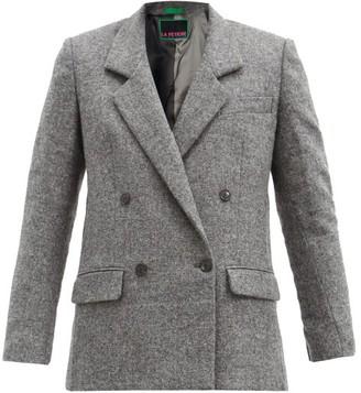 La Fetiche - Camille Double-breasted Wool Blazer - Grey