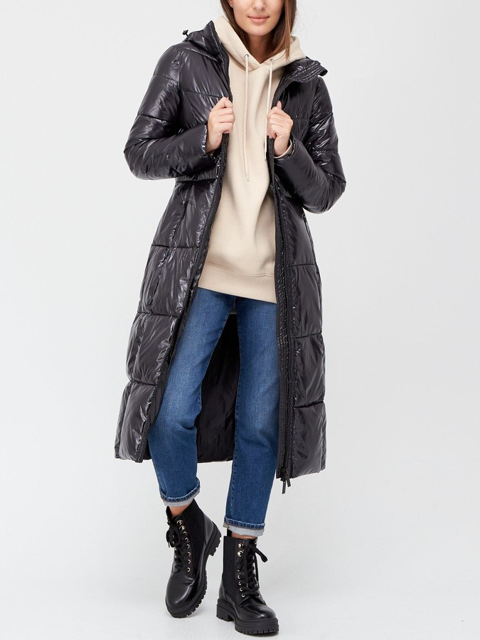 Thumbnail for your product : Very Long High Shine Padded Coat - Black