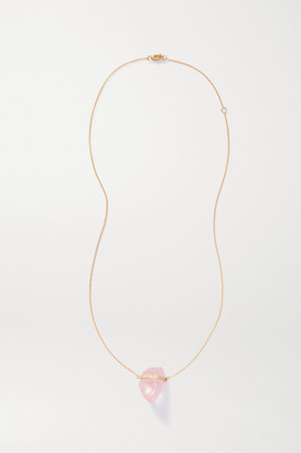 JIA JIA 14-karat Gold, Quartz And Diamond Necklace - Pink