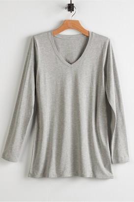 Soft Surroundings Women Tiffany Long Sleeve V-Neck Tee