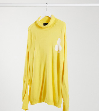 ASOS DESIGN Plus oversized funnel-neck sweater with club design in yellow