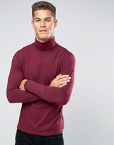 Lindbergh Long Sleeve Top With Roll Neck In Burgundy