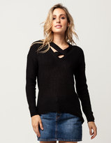 Say What Cross Front Womens Sweater