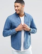 Pull&bear Zip-up Denim Overshirt In Mid Wash Blue In Slim Fit