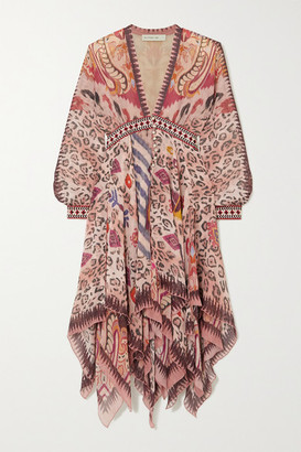 Etro Asymmetric Cotton Jacquard-trimmed Printed Silk-chiffon Dress - Burgundy