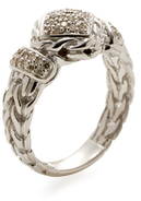 John Hardy Silver & Diamond Small Diagonal Square Ring