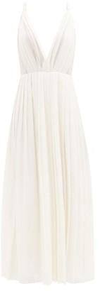 Gabriela Hearst Isle Plunge-neck Plisse Wool-blend Maxi Dress - Ivory