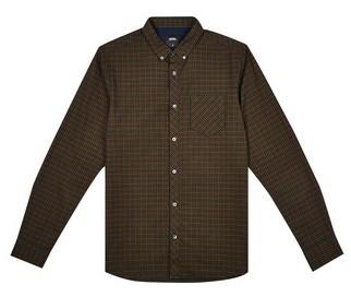 Dorothy Perkins Womens **Burton Khaki Long Sleeve Mini Checked Shirt