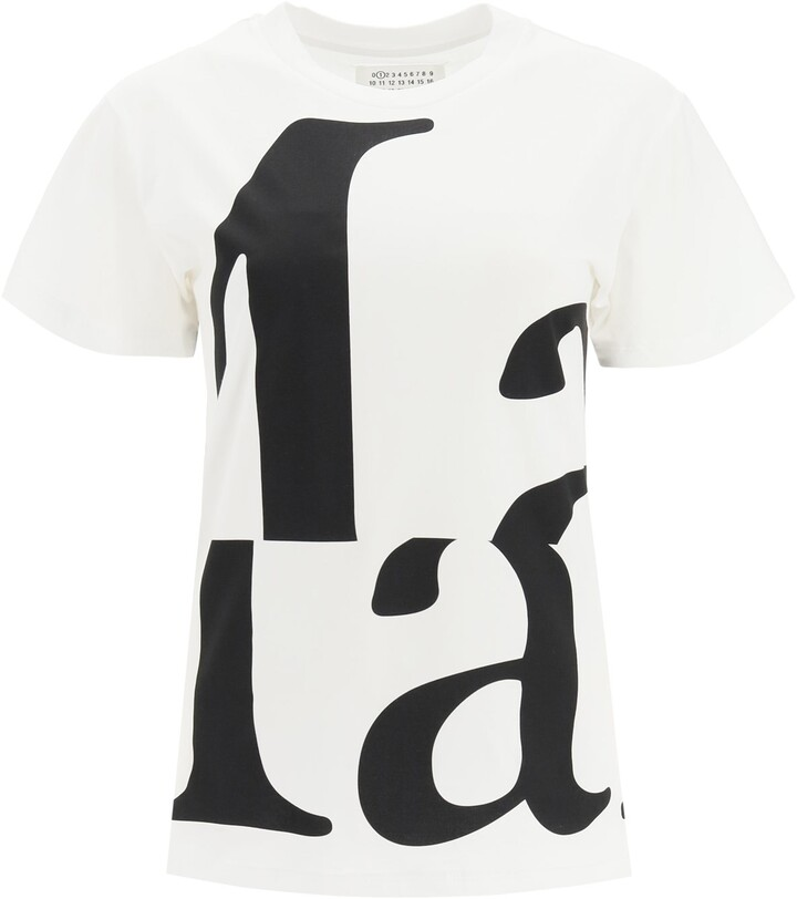 Thumbnail for your product : Maison Margiela T-SHIRT WITH MARG 'PRINT L White, Black Cotton