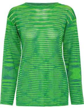 M Missoni Silk-Paneled Crochet-Knit Top