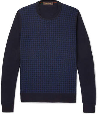 Loro Piana Slim-Fit Houndstooth Cashmere And Silk-Blend Sweater