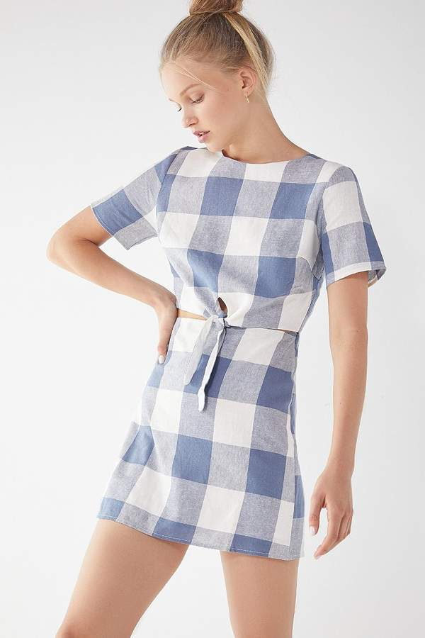 Lucca Couture Kennedy Tie-Front Gingham Dress