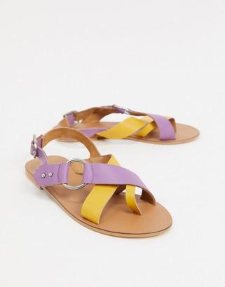 ASOS DESIGN Feel Good leather toe loop sandal in purple and yellow