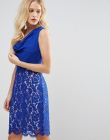 Oasis Cowl Neck Pencil Dress with Lace Skirt