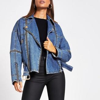 River Island Blue belted zip front biker denim jacket