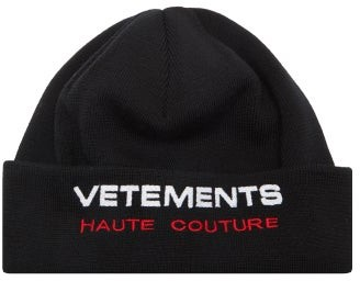 Vetements Haute Couture Logo-embroidered Virgin-wool Beanie - Black