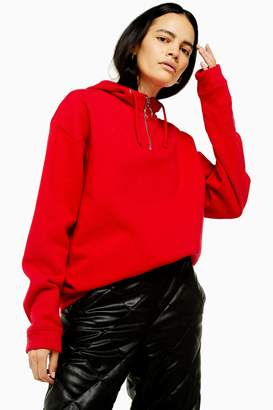 Topshop Womens Red Half Zip Hoodie - Red