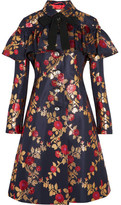Gucci Crystal-embellished Metallic Floral-jacquard Coat - Midnight blue