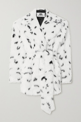 Balenciaga Oversized Belted Printed Faux Fur Coat - White