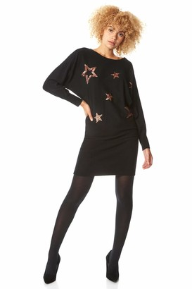 Roman Originals Women Sequin Star Knitted Dress - Ladies Everyday Casual Party Evening Long Sleeve Round Neck Sparkle Embellished Print Relaxed Warm Autumn Winter Dresses - Black - Size 18