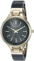 Anne Klein Women's AK/1408DKDM Gold-Tone and Dark Blue Denim Patterned Resin Bangle Watch