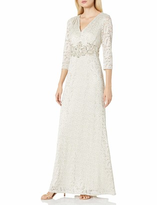 Alex Evenings Women's V-Neck Lace Evening Gown with Beaded Waist Dress