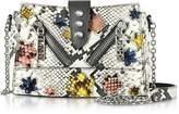 Kenzo Anthracite Gommato Leather Mini Kalifornia Handbag w/Python Print Shoulder Strap