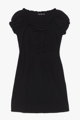 Nasty Gal Womens Strings Attached Lace-Up Mini Dress - Black - 4, Black