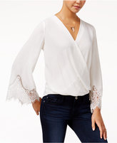 Amy Byer Juniors' Lace-Trim Faux-Wrap Top