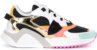 Philippe Model Eze Mondial Metal Sneakers In Leather And Multicolor Mesh