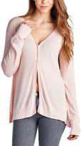 Pink Three-Button V-Neck Cardigan