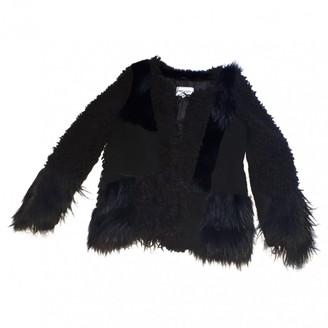 American Retro Black Faux fur Jacket for Women