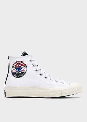 Converse Chuck 70 Hi With Logo Play in White/University Red/Rush Blue Shoes, Size 9.5