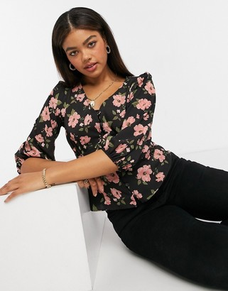 New Look tea blouse in black with pink floral pattern